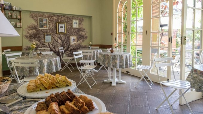 The tea-room is an oasis of tranquillity in the corner of Mompesson's beautiful garden.