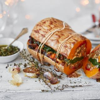 Vegan Christmas Stuffed Roasted Squash with Pesto