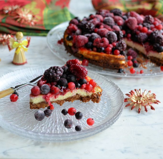 Frosted Winter Fruits Cheesecake
