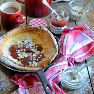 Baked Rhubarb & Strawberry Clafoutis Pancake