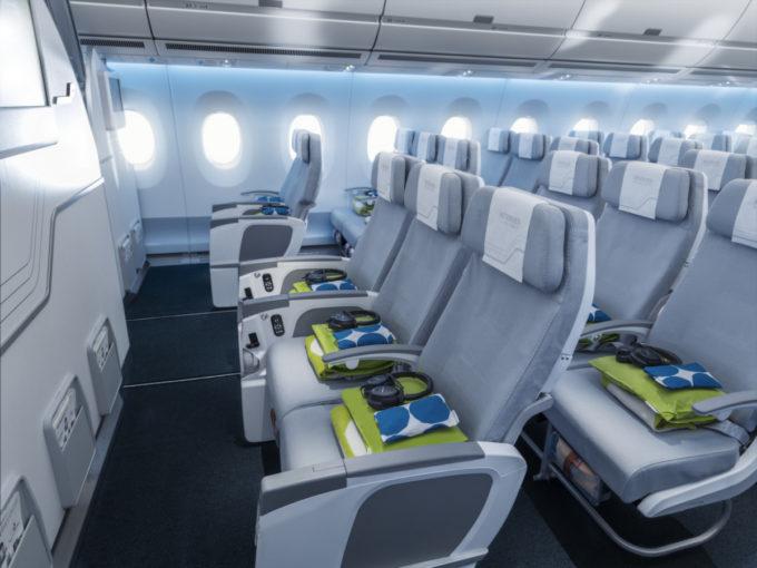 Finnair A350 economy class cabin, economy comfort seat row_116