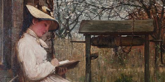 Girl seated in a Garden by John Robertson Reid