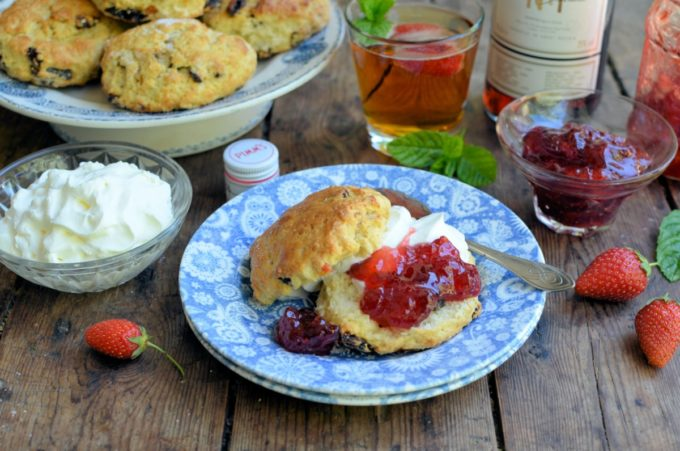 Wimbledon Pimms Strawberry Jam and Cream Scones