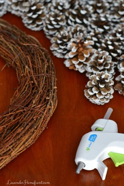 what you need to make a pinecone wreath