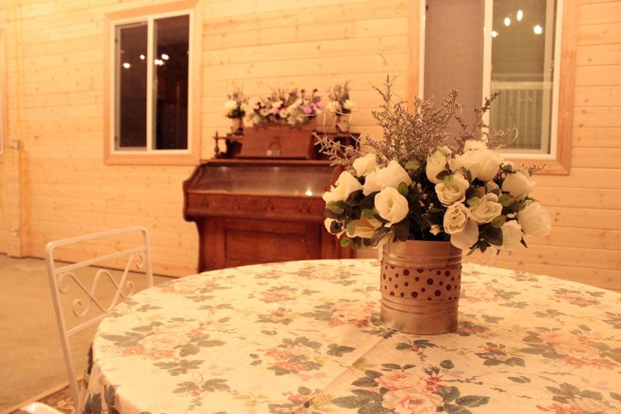 Table Overlooking Lavender Display