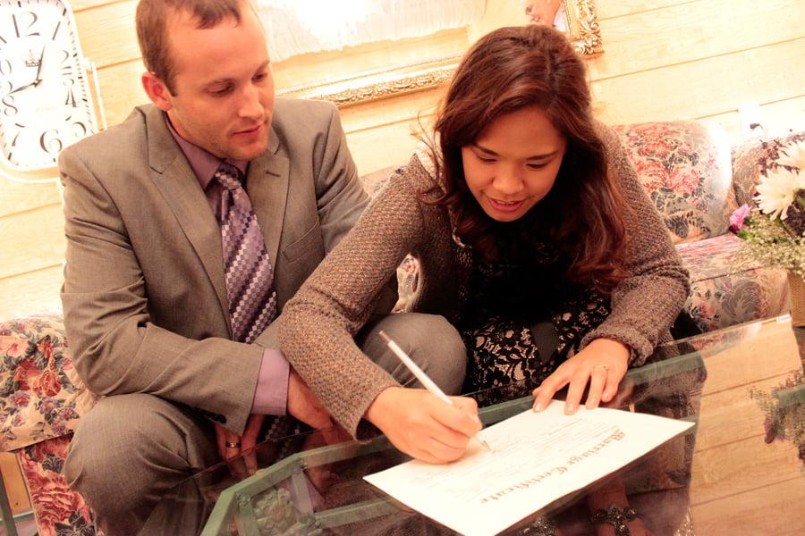 Signing Wedding Certificate