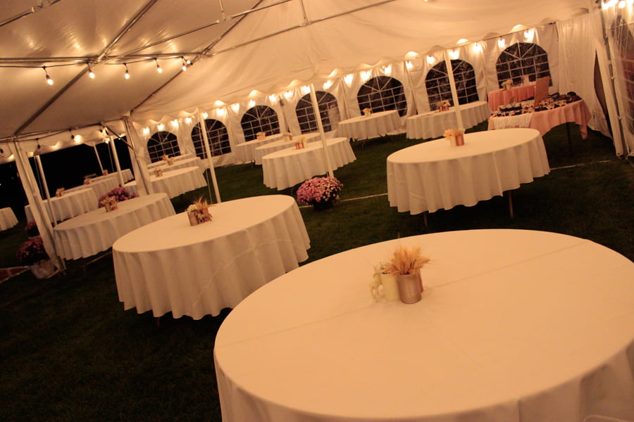 Tables in Reception Tent