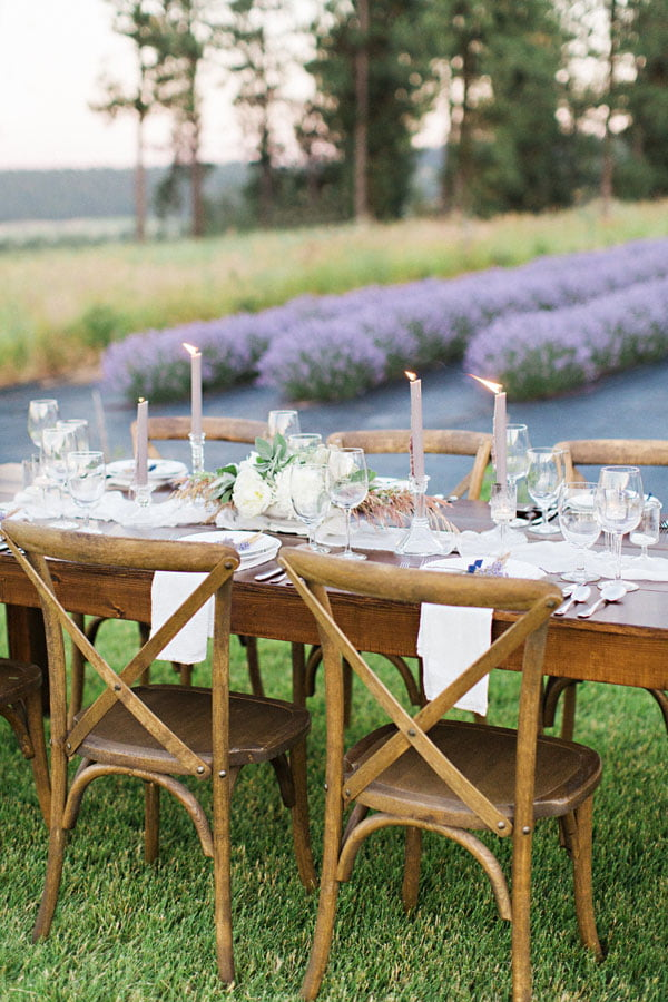 Table setting before lavender field.