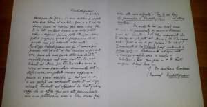 Lettera autografa di don Amilcare Bombeccari a Mons. Felice Patrini sulla santità di don V. Grossi