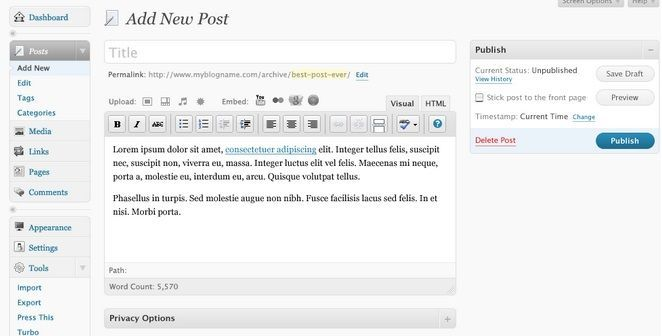 interfaz de wordpress para crear un blog