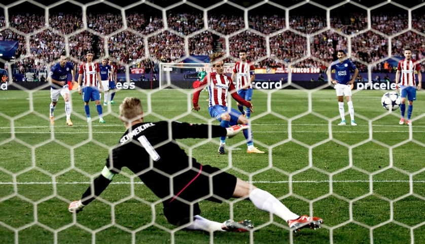 Griezmann convierte el uno a cero de penalti. Foto: clubatleticodemadrid.com