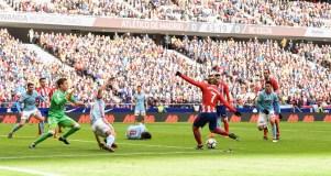 Griezmann haciendo el primer gol frente al Celta. Foto: RUBÉN DE LA FUENTE