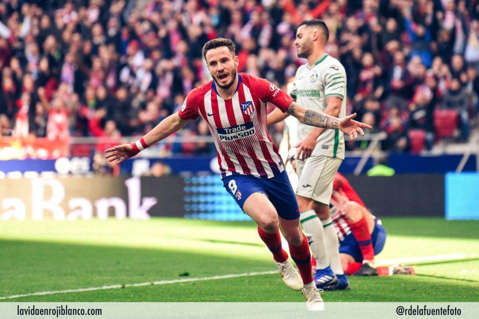 Saúl celebra su gol ante el Getafe. Foto: Rubén de la Fuente