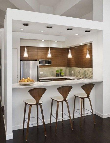 cocina moderna con barra pequeña