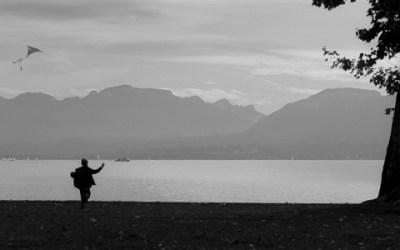 cerf volant au bord du lac