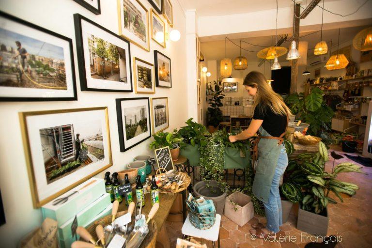Nous vendons des plantes vertes, des plants ou des graines. Nous leur expliquons comment faire par eux-mêmes leur plantation grâce à des ateliers. Nous organisons aussi des visites de fermes qui sont là juste au dessus de leurs têtes.