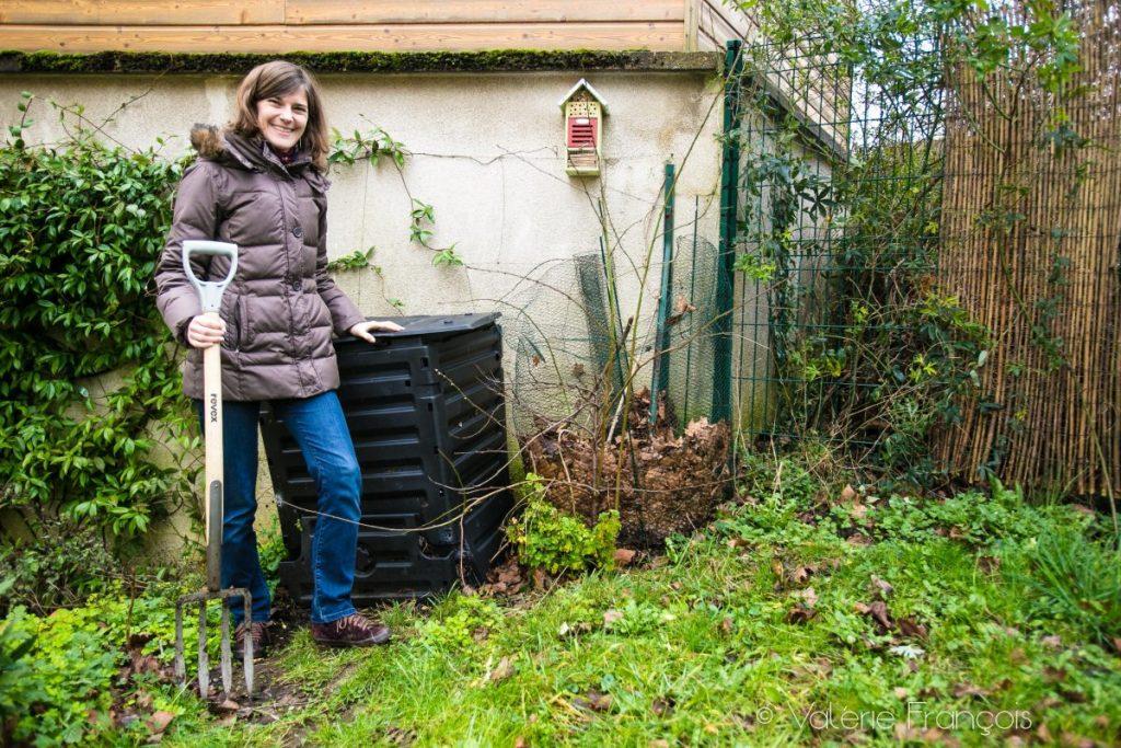compostagem em Cidade: Aurélie e seu compositor
