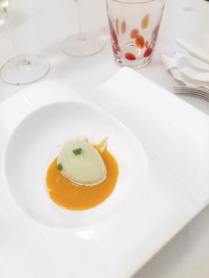 Ristorante Sabir Gourmanderie - pinsimonio di lamelle di finocchio, perlage di basilico e centrifuga di carote novelle di Ispica