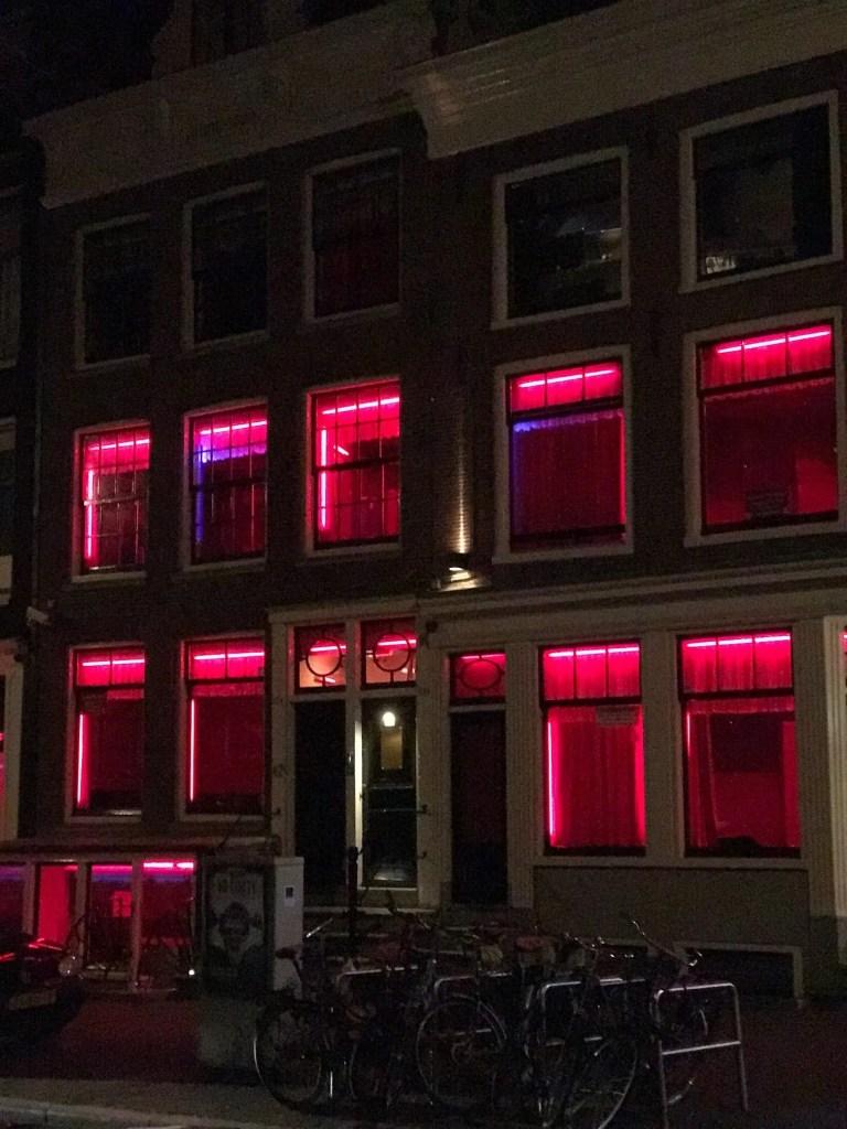 Case rosse di Amsterdam di notte