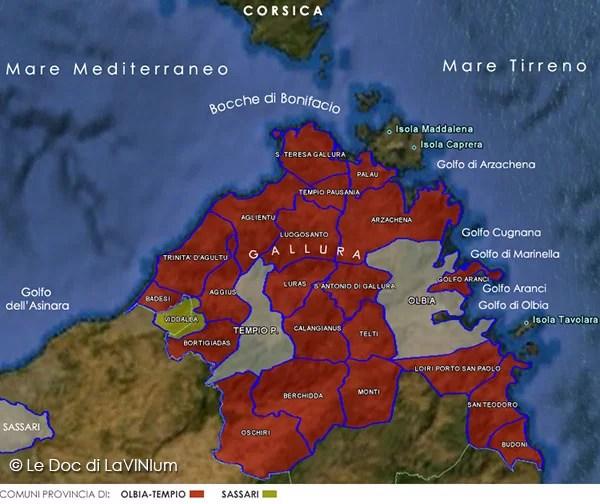 Mappa Docg Vermentino di Gallura