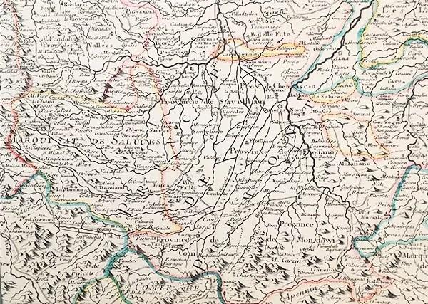 La cartina dei possedimenti del Marchesato di Saluzzo