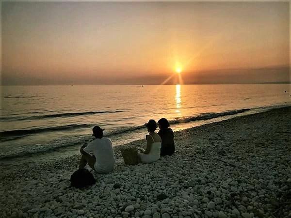 Spiaggia Giache Bianche al tramonto