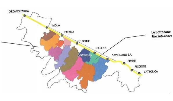 Mappa vino doc Romagna sottozona Bertinoro