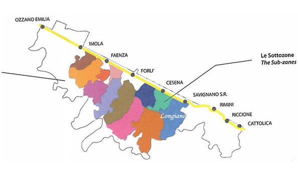 mappa vino doc Romagna sottozona Longiano