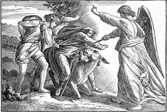 Balaam and His Donkey Met by the Angel of the Lord Numbers 22:31