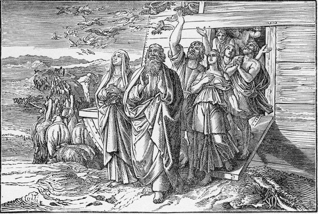 Noah and his family leaving the ark Geneis 8:18-19