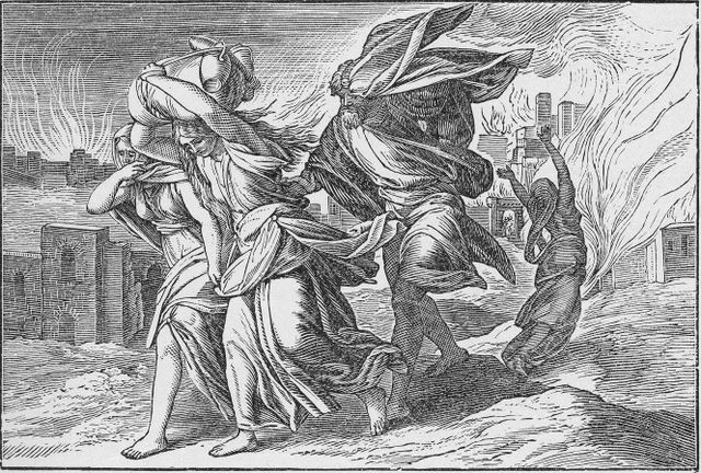 Lot and his family fleeing from Sodom Genesis 19:24-26