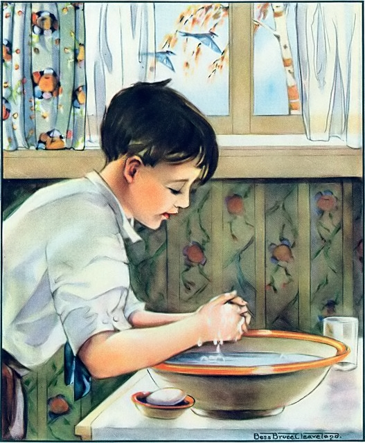 Boy washing his hands at a dry sink (Being thankful for water) Psalm 100:4