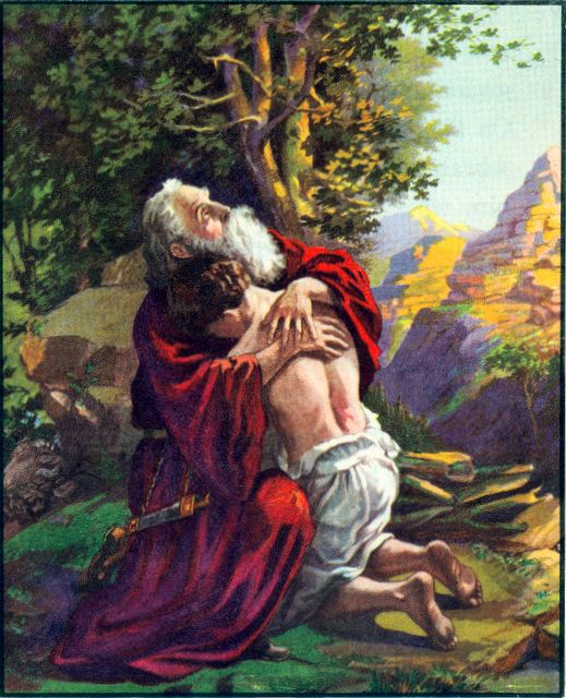 Abraham receives his only son, Isaac, back from God Genesis 22:11-12
