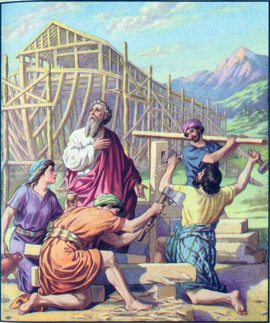 Noah and his son buit an ark  Genesis 6:13-22