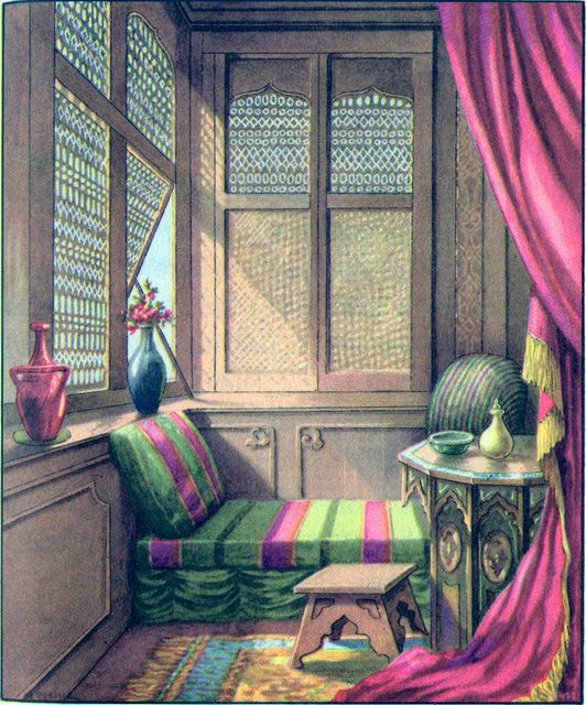 Bed chamber with lattice work screens Proverbs 7:6; Song of Solomon 2:9