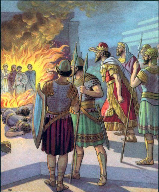 Shadrach, Meshach, and Abed-Nego cast into the firey furnance Daniel 3:24-25