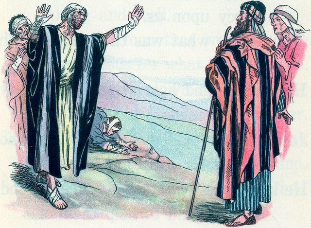 Lepers come to Jesus for healing Luke 17:12-13