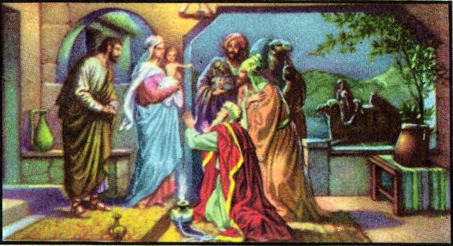Wise men worshiping the child Jesus Matthew 2:11