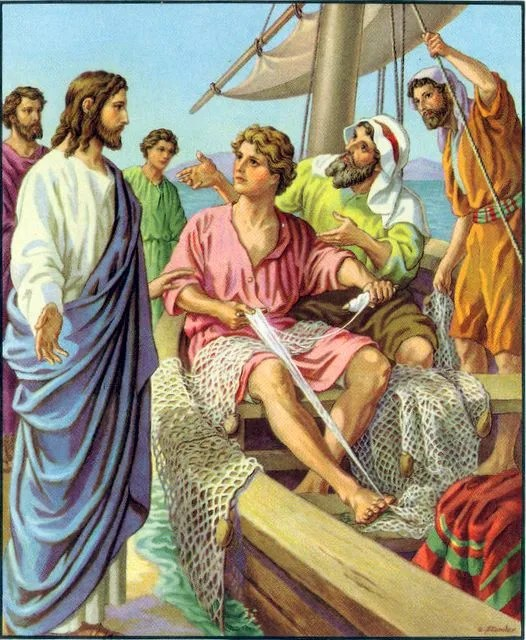 Jesus calls James and John while they were mending nets Mark 1:19-20