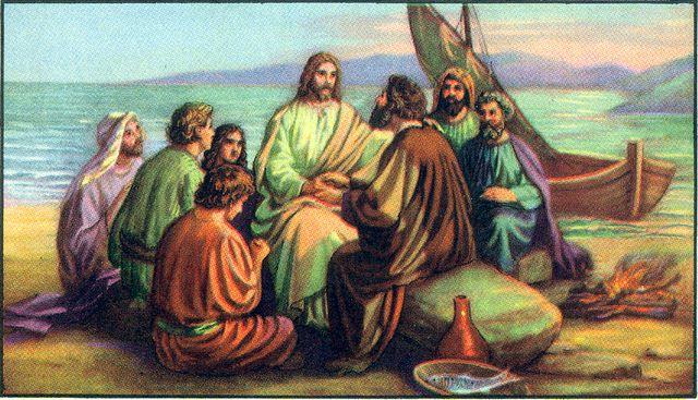 Jesus eats breakfast with his disciples John 21:9-13