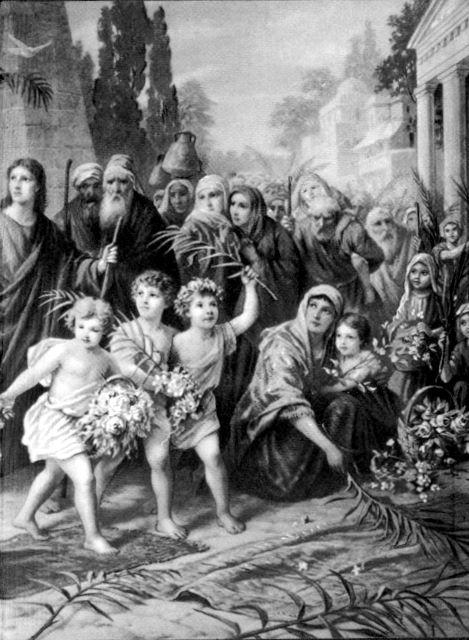 Jesus triumphant entrance into Jerusalem Matthew 21:7-10