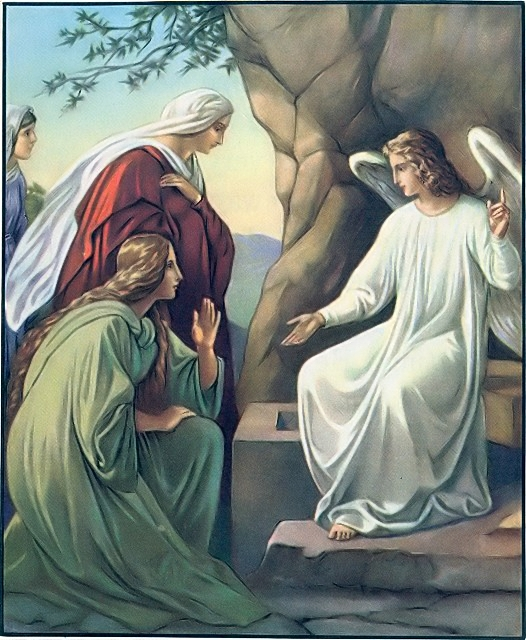 Women come to Jesus' grave but are told by an angel that he is not here Mark 16:1-7