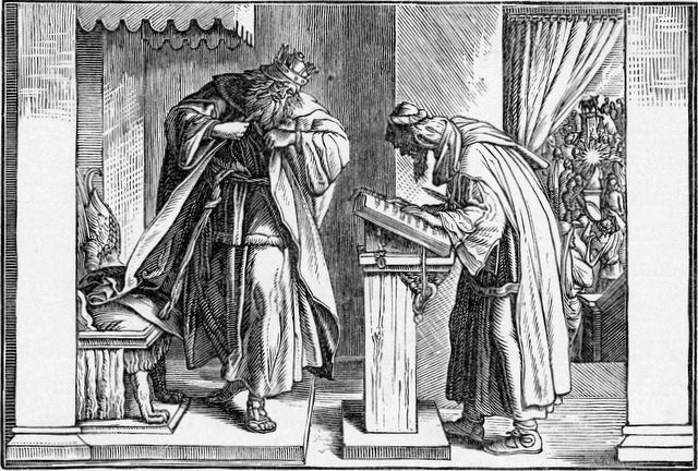 Josiah weeps as the found book of the Law is read II Kings 22:10-11