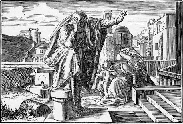 Jeremiah mourning over Jerusalem Lamentations 1:1-2