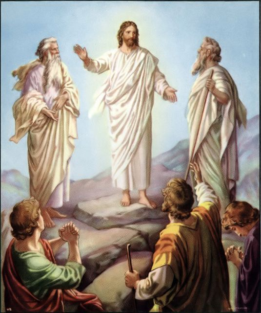 Jesus transfigured on the mountain with Moses and Elijah Matthew 17:1-3