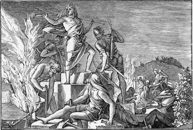 Nehemiah arms the laborers Nehemiah 4:16-17