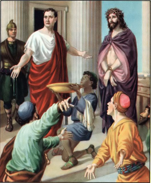 Pilate washes his hands of killing Jesus Matthew 27:24