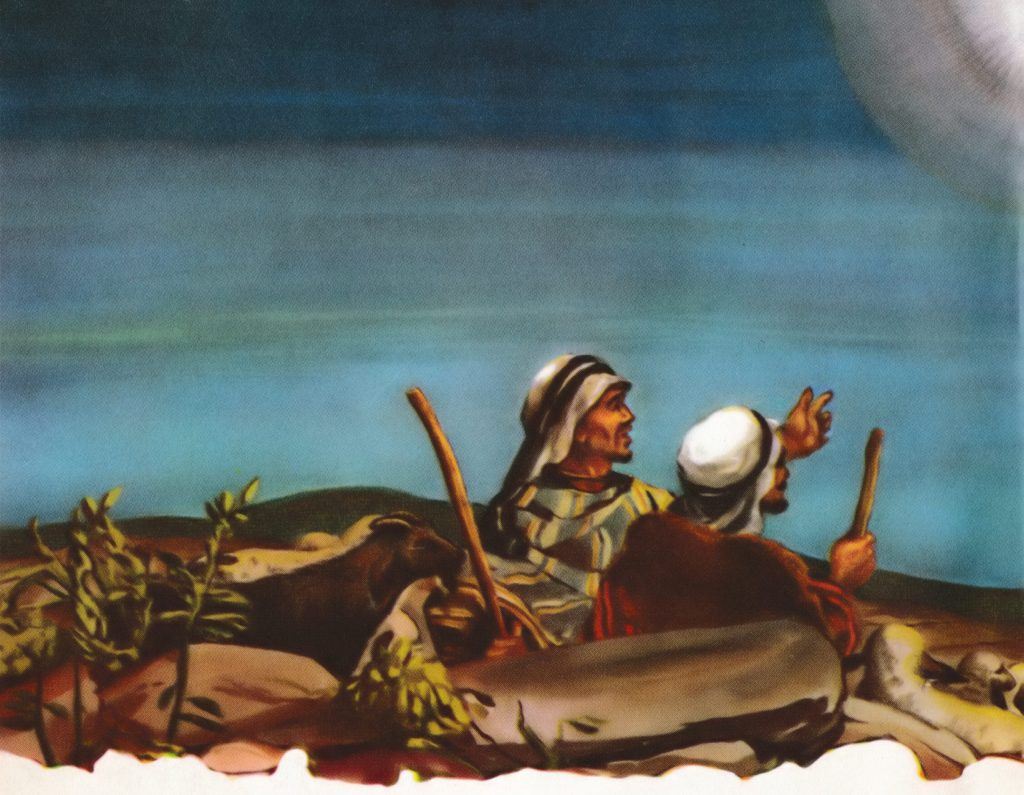 Shepherds see an angel announcing Jesus' birth (Luke 2:8-14)