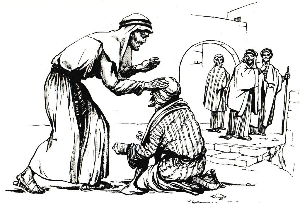 Jesus heals a leper (Matthew 8:2-3)