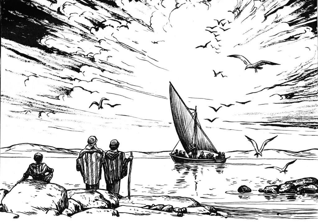 Jesus and the disciples sail for a secluded place (Mark 8:30-32)
